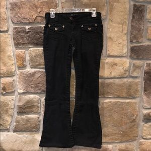 Angels stretch flare black jeans size 5.